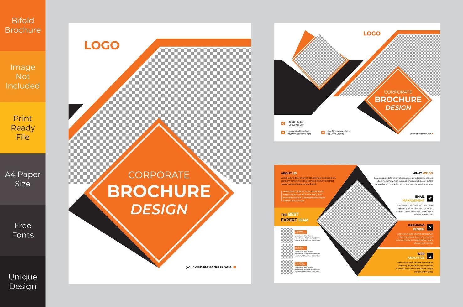 progettazione dell'opuscolo ripiegabile di affari corporativi arancio e nero vettore