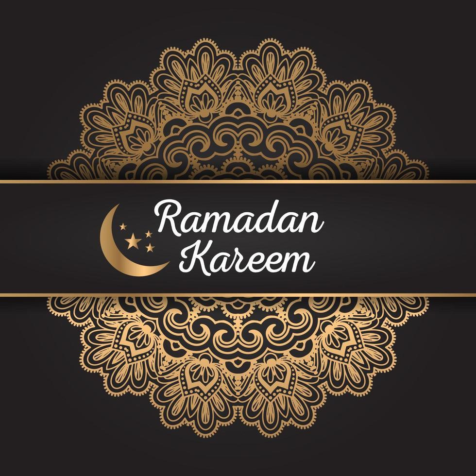 Ramadan Kareem Golden Mandala Design vettore