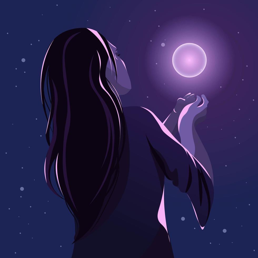 concetto di new age dell'occulto, donna con in mano un globo magico. vettore