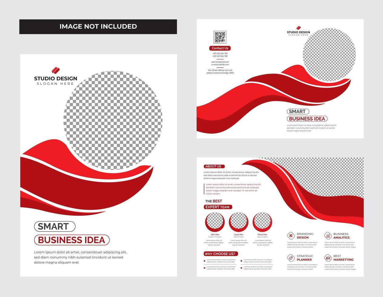 insieme di modelli di brochure aziendale forma curva rosso e bianco vettore