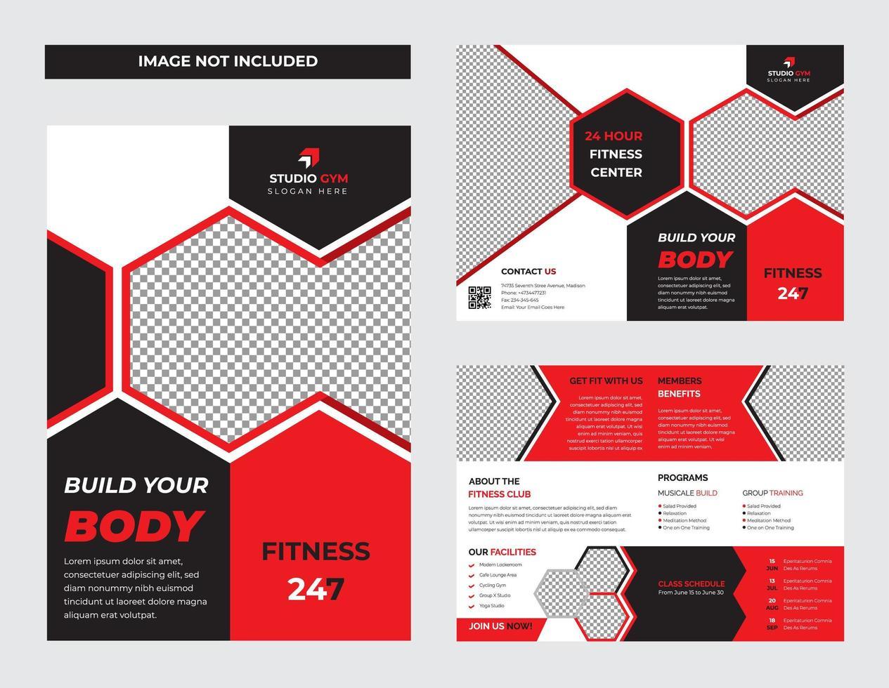 modello di brochure pieghevole palestra rosso e nero vettore