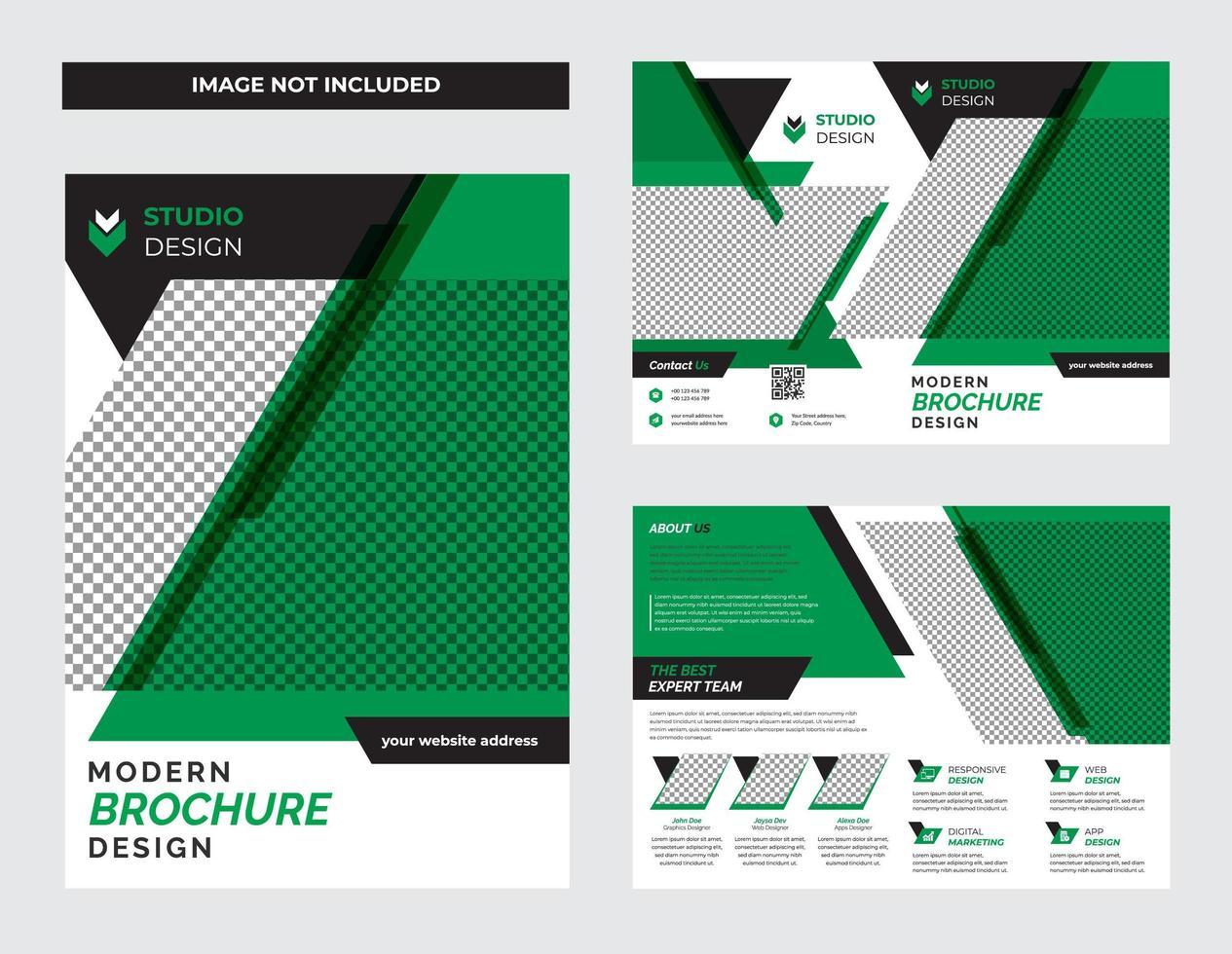 set di modelli di volantino aziendale grassetto verde e nero vettore