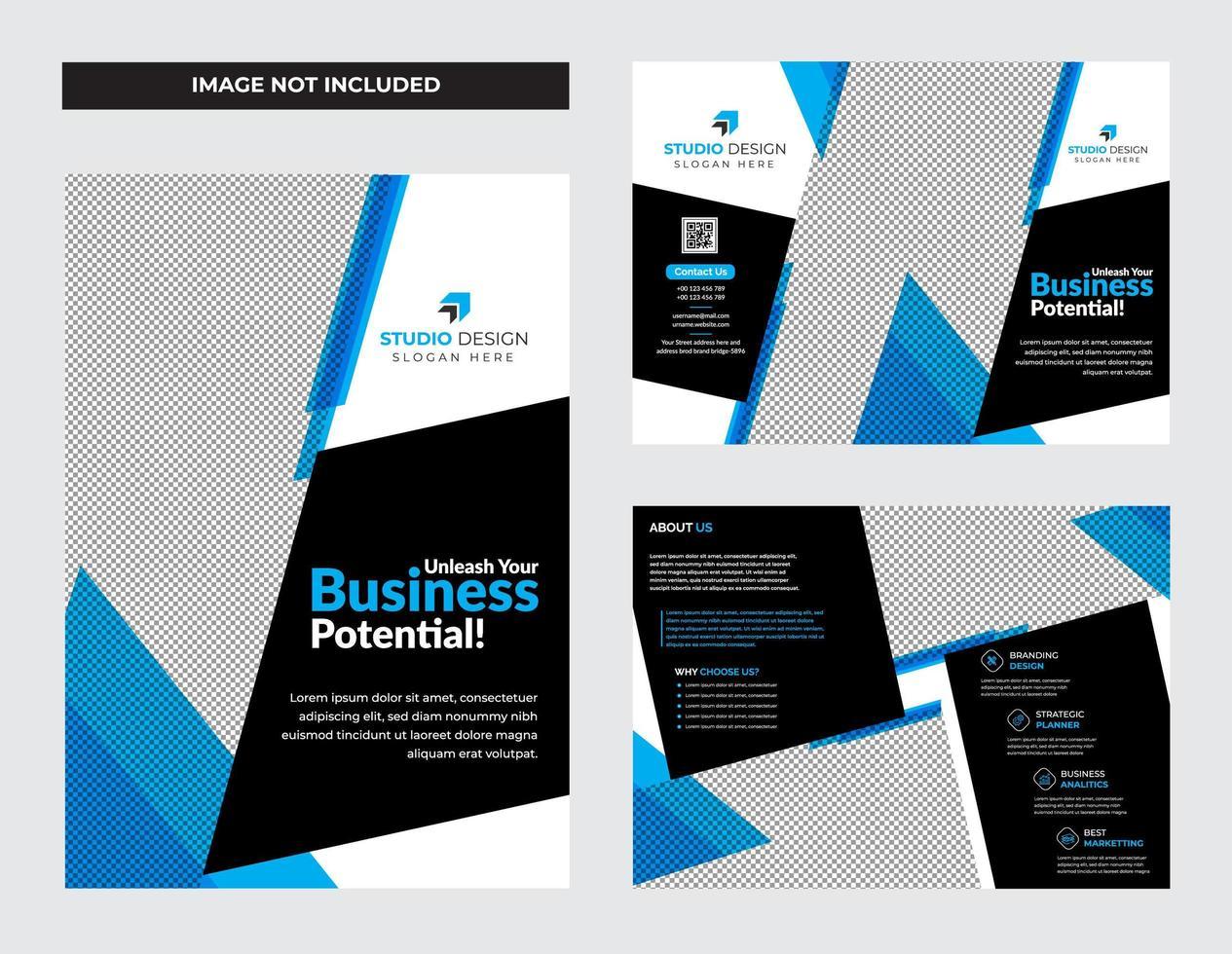 set di progettazione brochure pieghevole blu business aziendale vettore