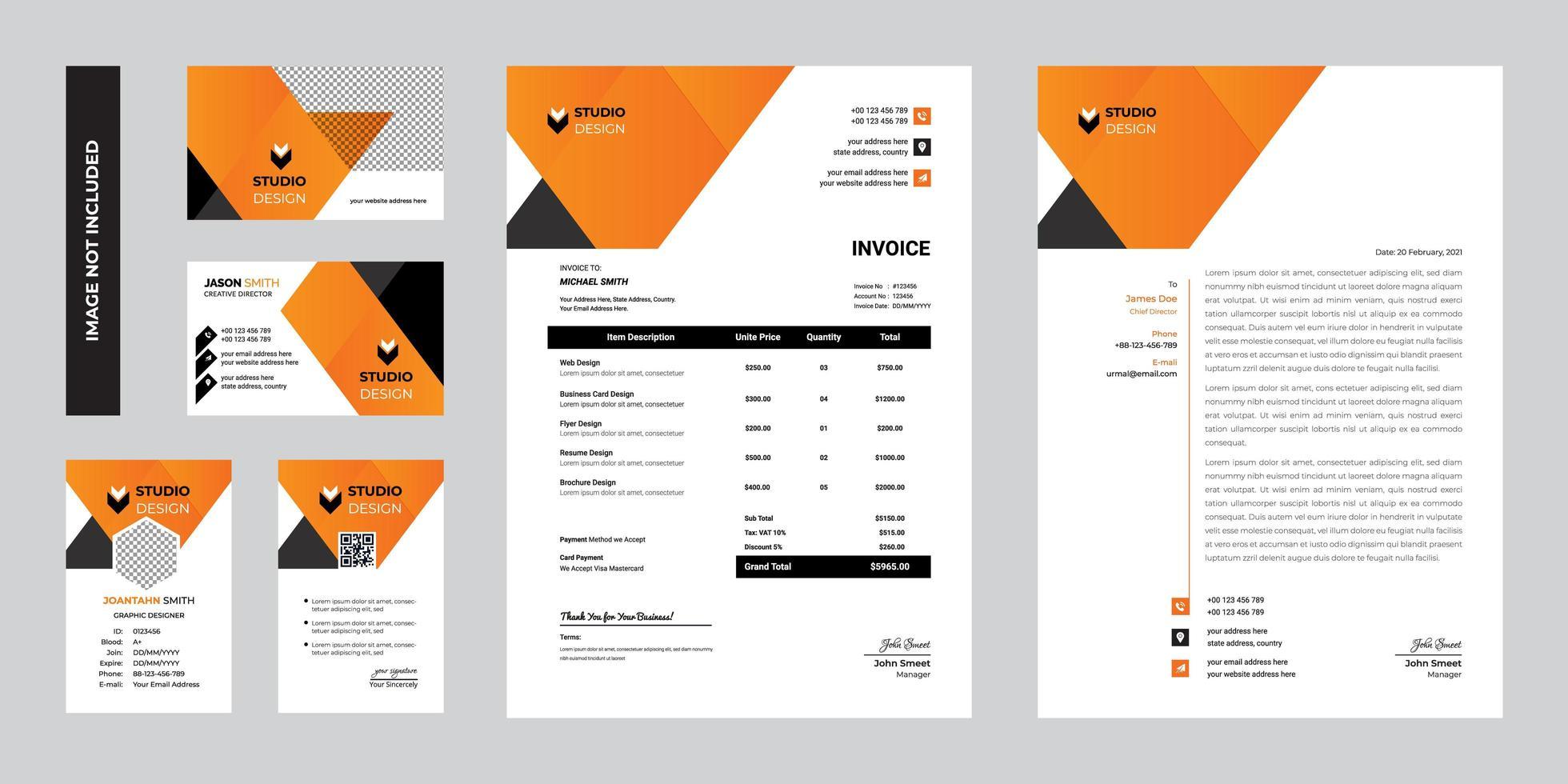 progettazione del modello della cancelleria corporativa di affari moderni arancio vettore