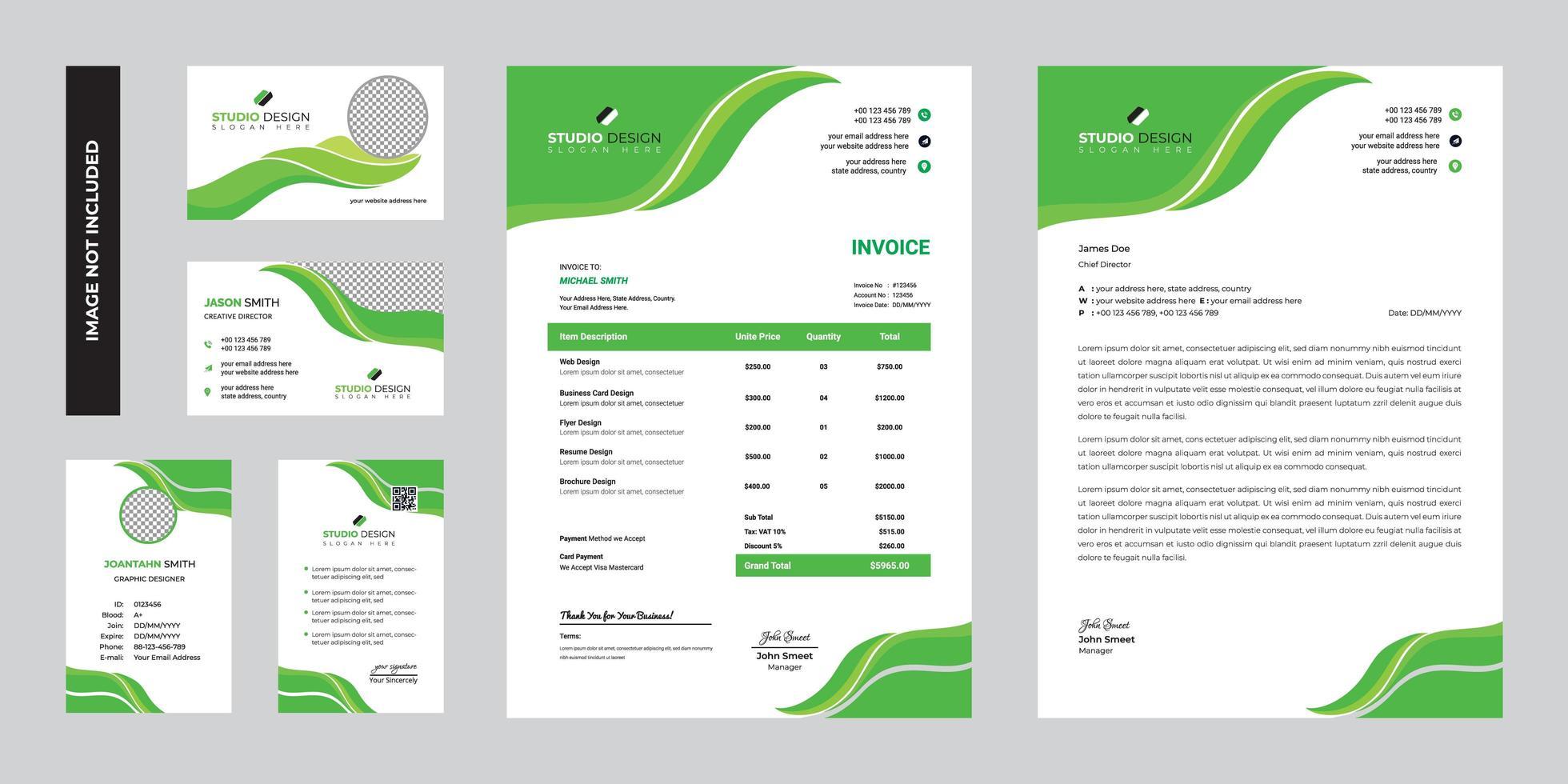 progettazione del modello della cancelleria corporativa di affari verdi moderni vettore