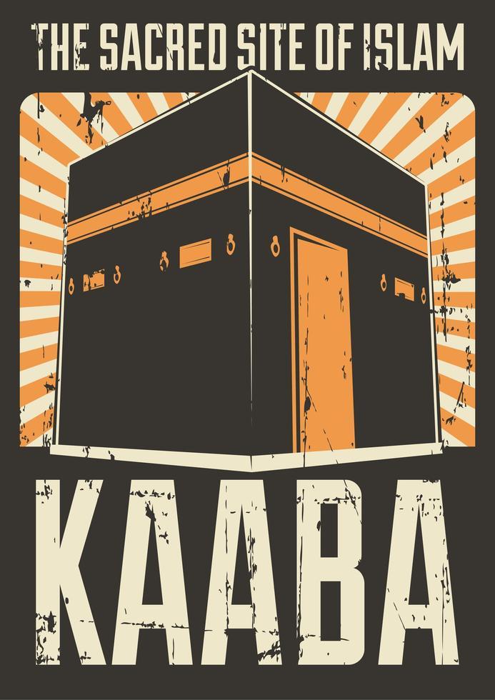 raggi di sole retrò musulmano islam kaaba mecca poster vettore