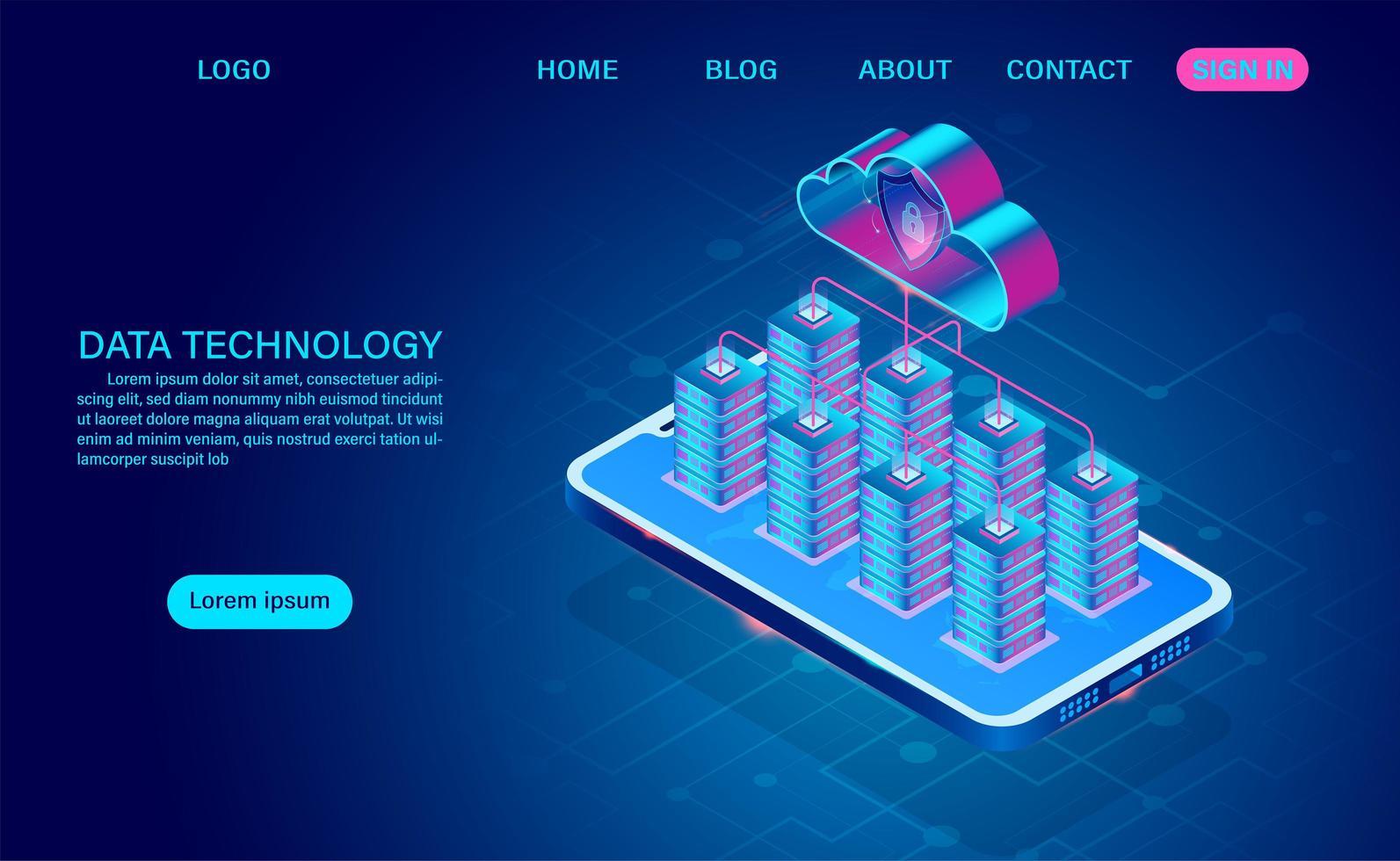 server sul telefono con cloud per la protezione dei dati vettore