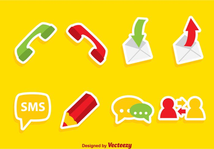 Icone piane del telefono cellulare vettore