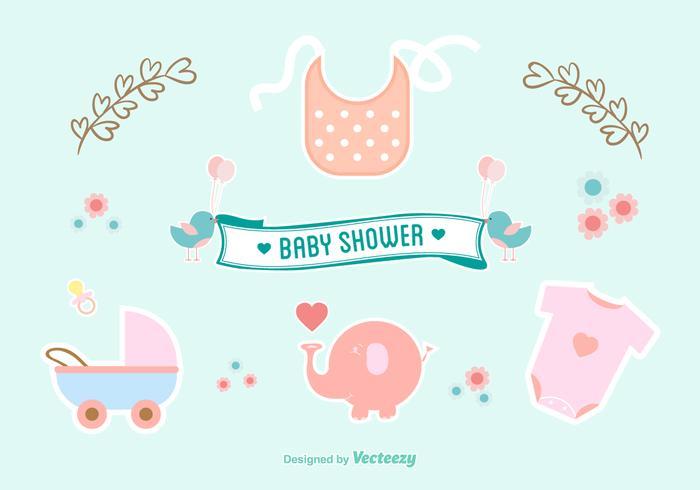 Icone dell'acquerello di Baby Shower vettore