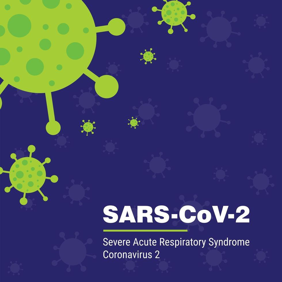 poster di sars coronavirus 2 in viola e verde vettore