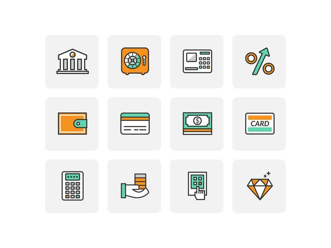 Icone della linea piatta della banca vettore