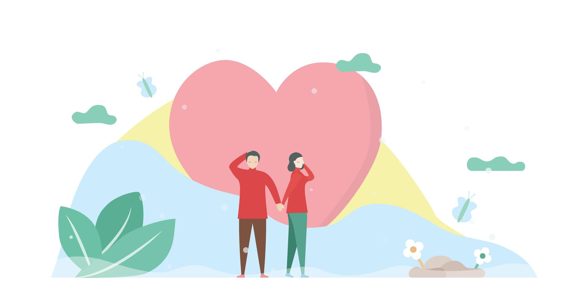 uomo e donna che si tengono per mano davanti al cuore vettore