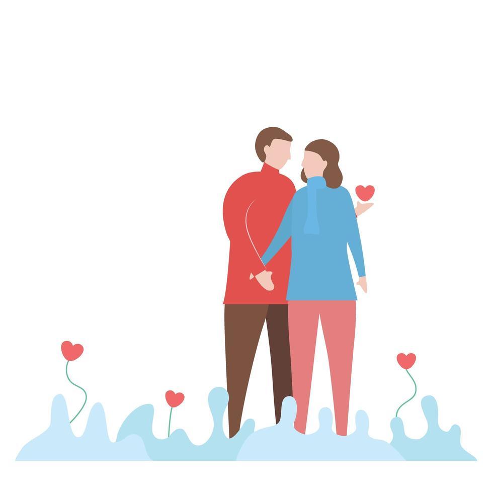 coppia mano nella mano con il disegno del cuore vettore