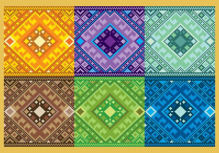 Pattern azteco Pixelated vettore