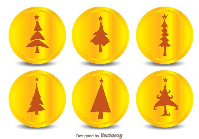 Icone della siluetta dell'albero di Natale vettore