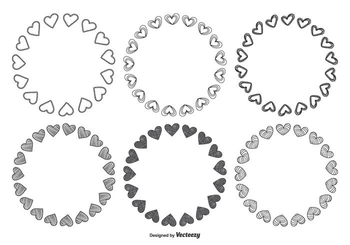 Set cornice cuore stile disegnato a mano vettore