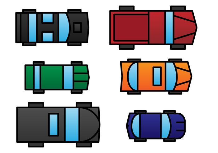 Insieme di vettore di vista aerea dell'automobile del giocattolo