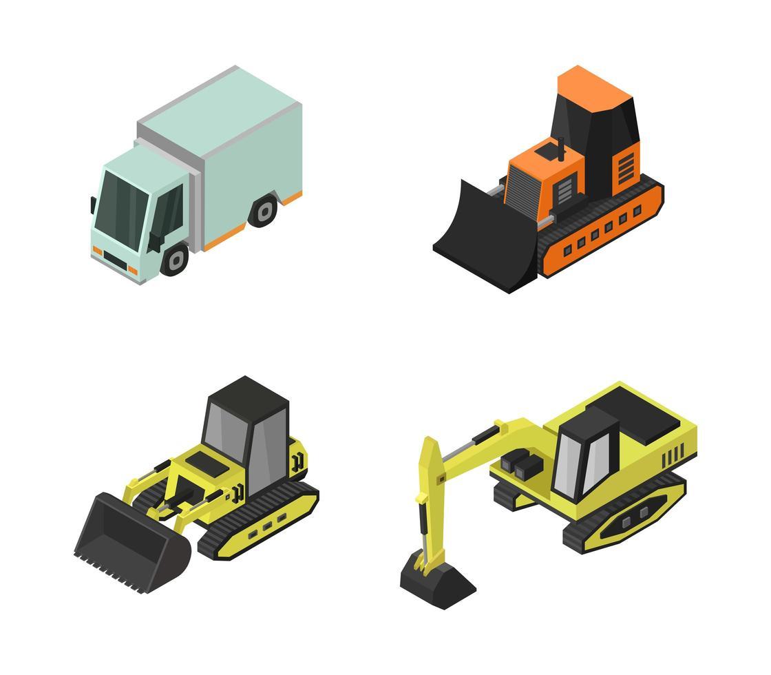 set di escavatori e camion isometrici vettore