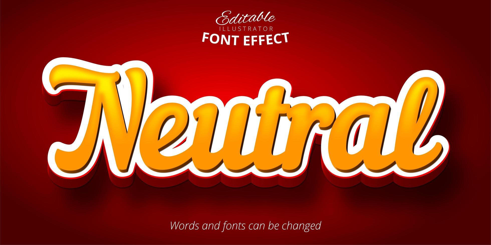 testo dello script neutro, effetto font modificabile 3d vettore