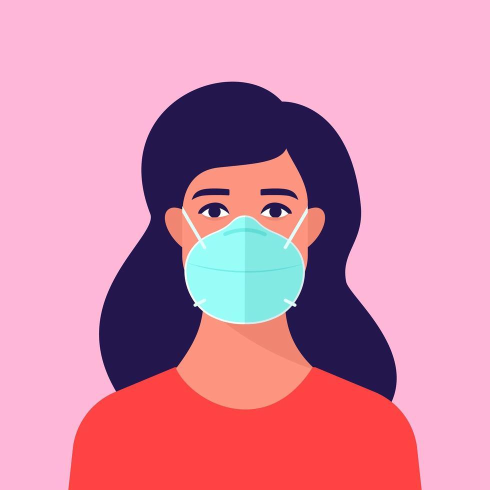 donna che indossa una maschera medica vettore