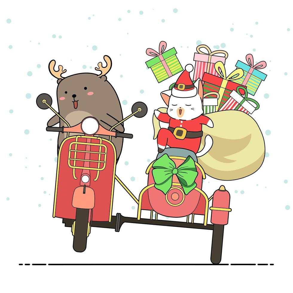 renna e Babbo Natale gatto in sella a moto con sidecar vettore
