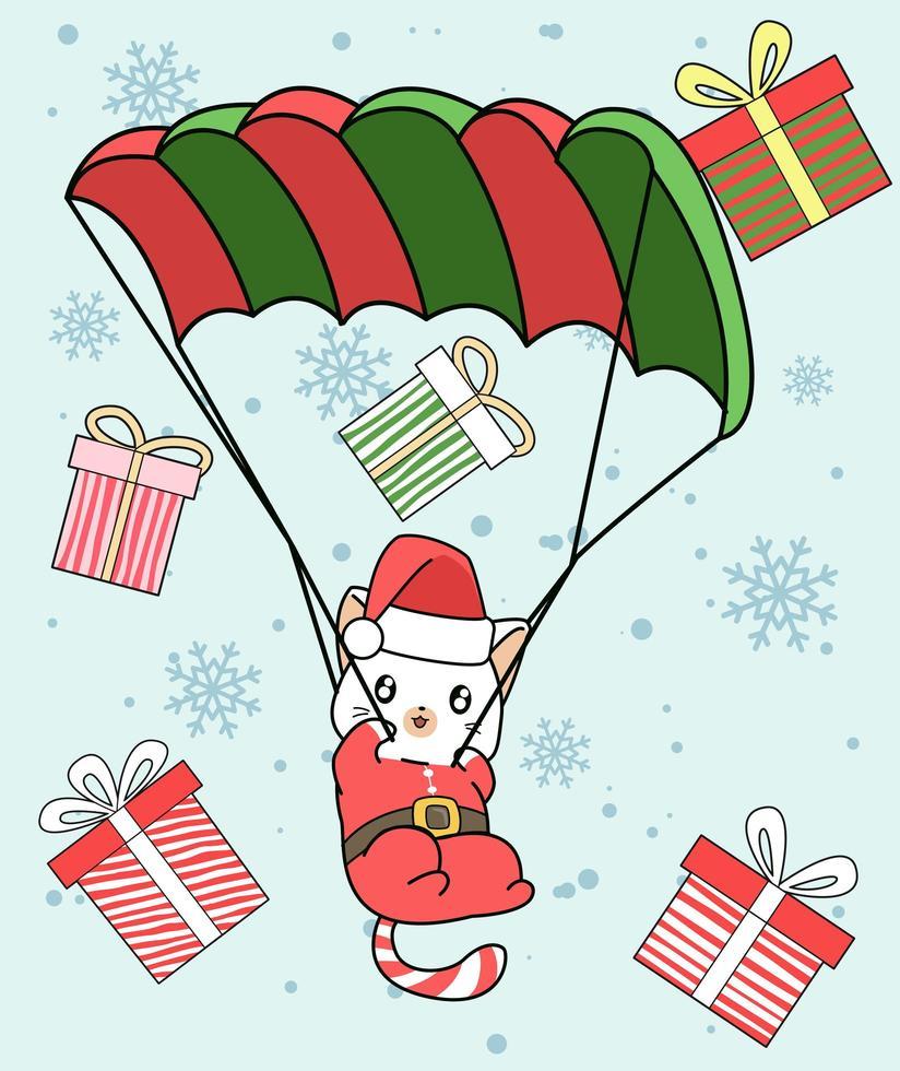 gatto di Babbo Natale con paracadute e regali che cadono vettore