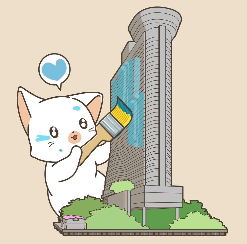 illustrazione della costruzione della pittura del gatto vettore