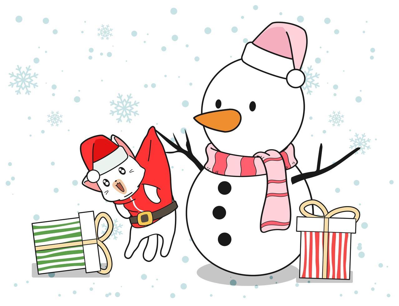 pupazzo di neve e santa cat con doni vettore