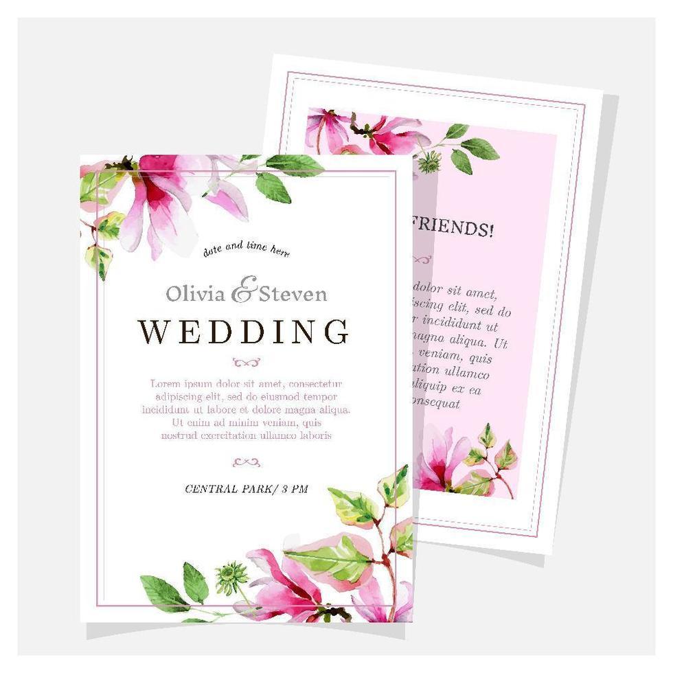 invito a nozze magnolia disegnati a mano vettore