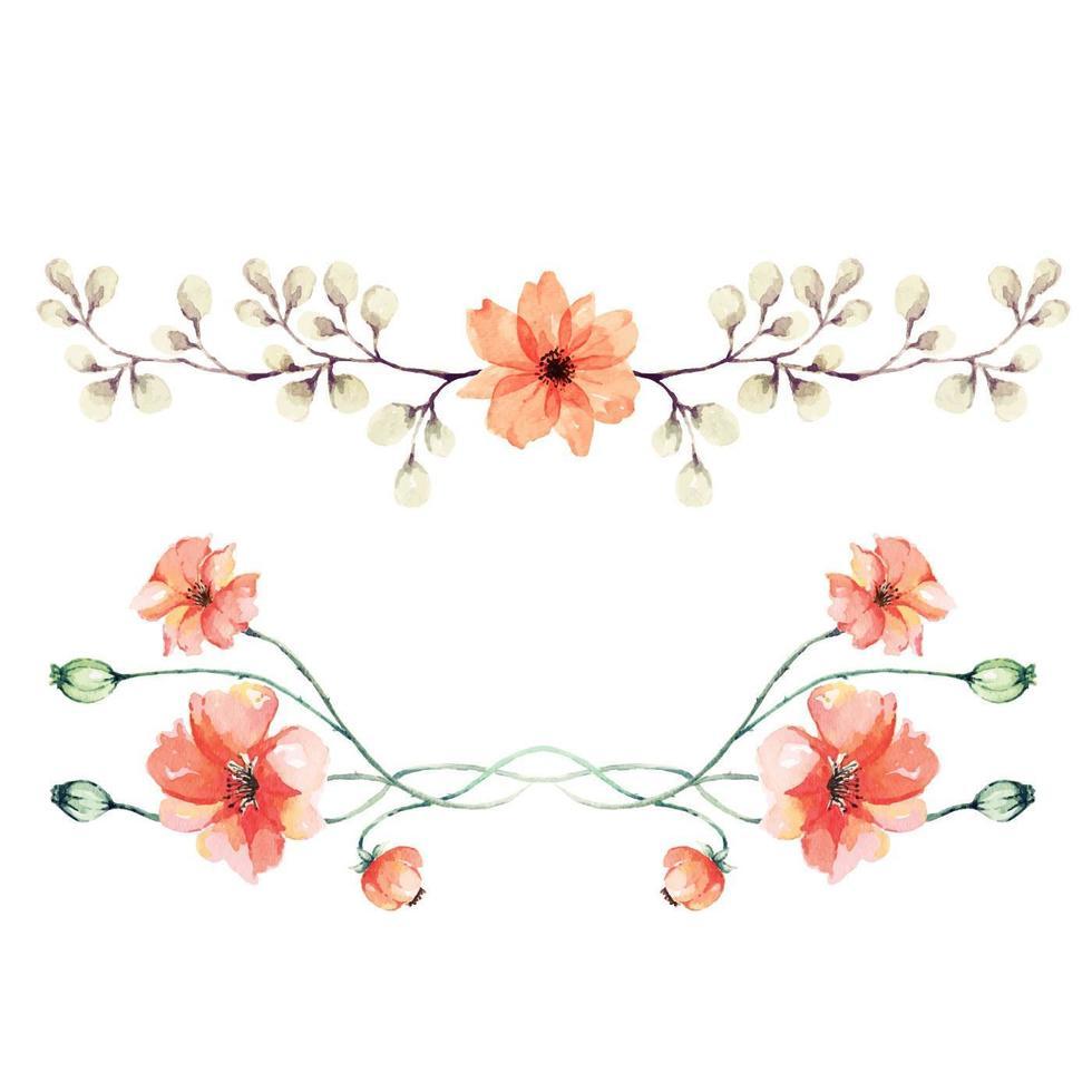 bouquet di papaveri dipinto ad acquerello vettore