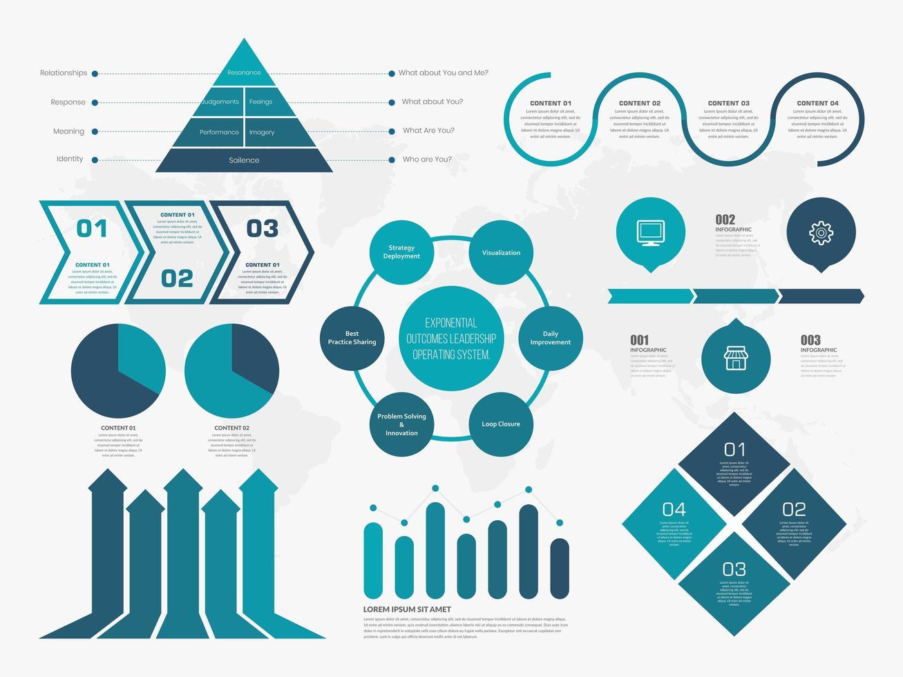 insieme infographic creativo di affari blu vettore