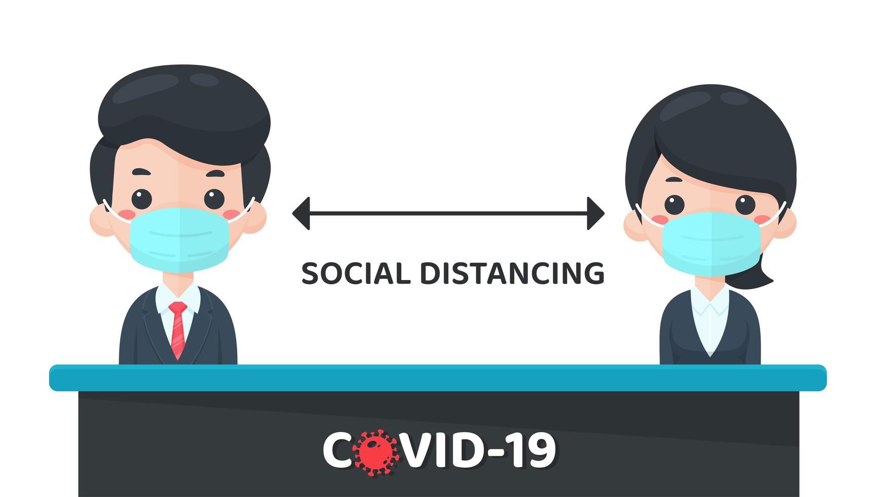 design sociale di distanza in stile cartone animato vettore