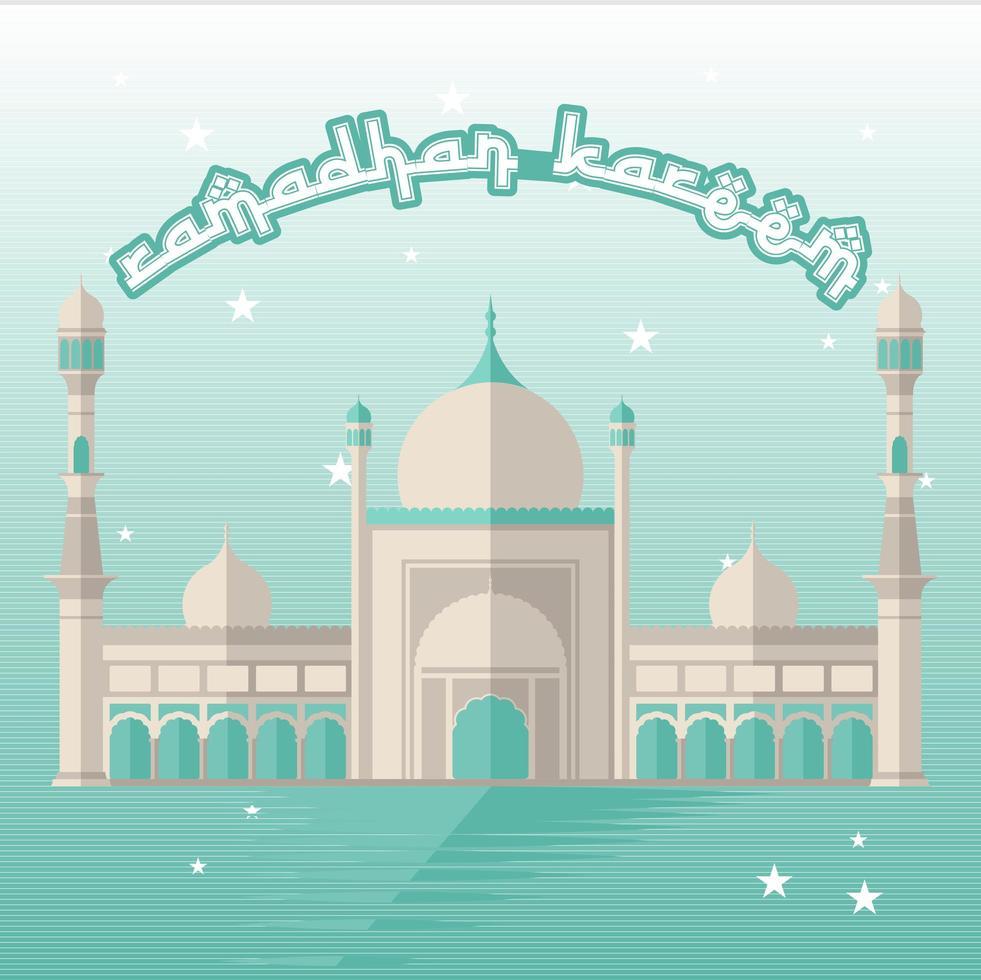 verde ramadan kareem design con moschea di notte vettore