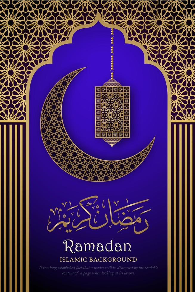 Ramadan Kareem viola brillante e poster d'oro vettore