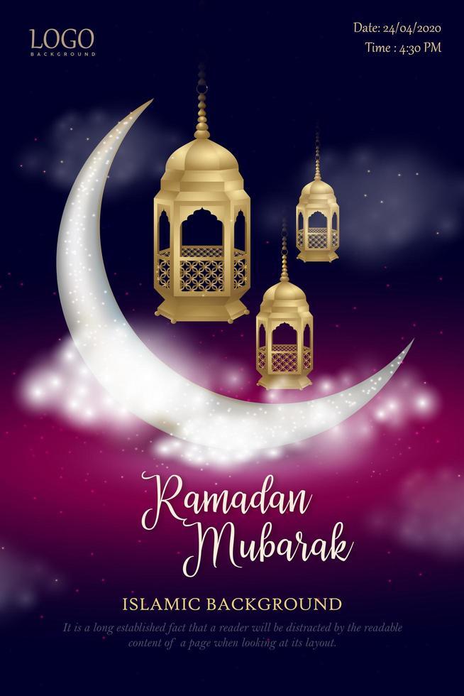 poster di ramadan mubarak incandescente cielo notturno vettore