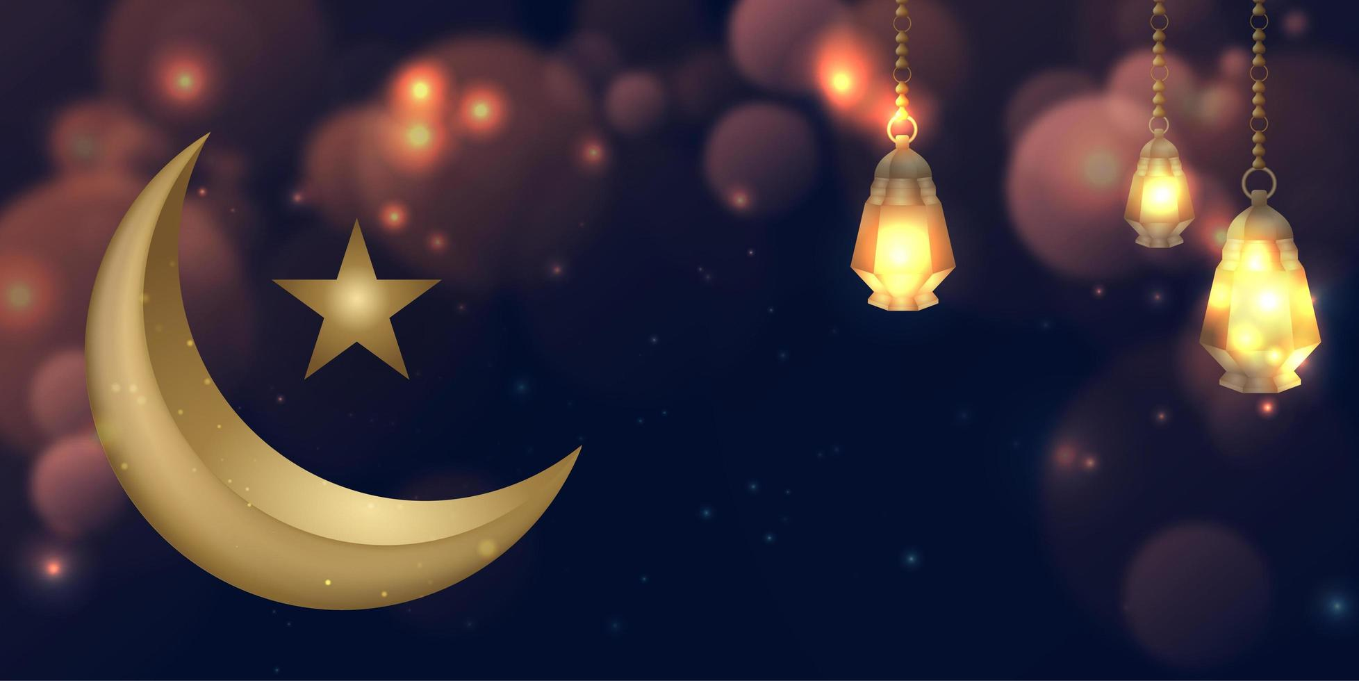 Ramadan Kareem incandescente sfondo luna d'oro vettore