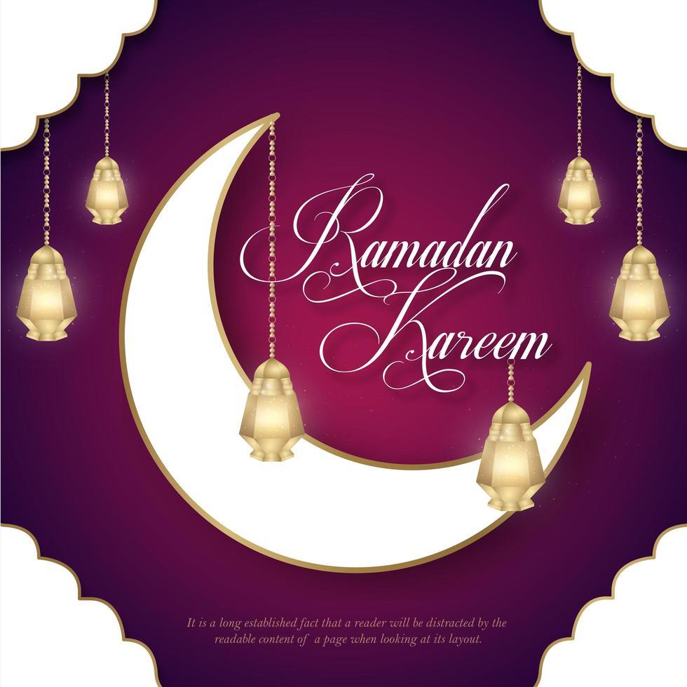 Ramadan Kareem bandiera bianca luna e lanterne vettore