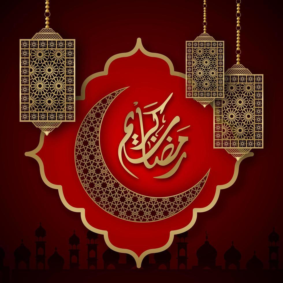 Ramadan Kareem ornato di luna e lanterne su rosso vettore