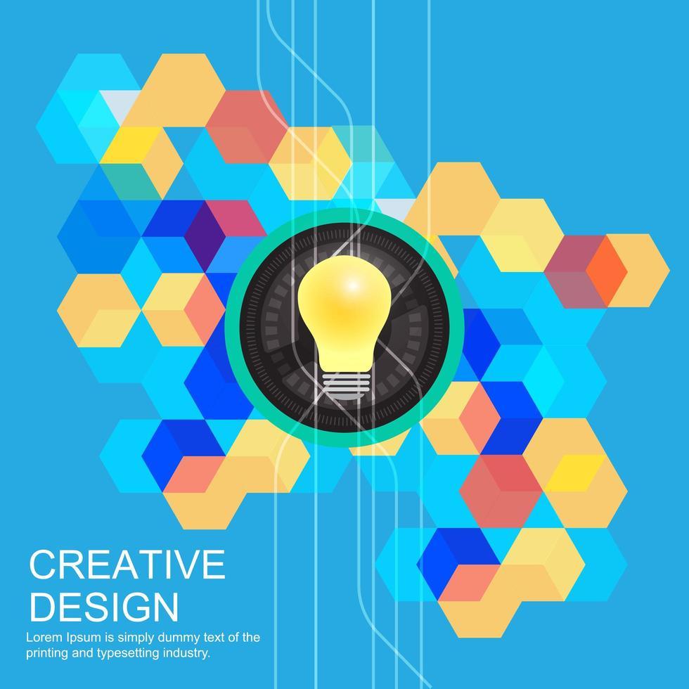 poster con lampadina ed esagoni colorati vettore