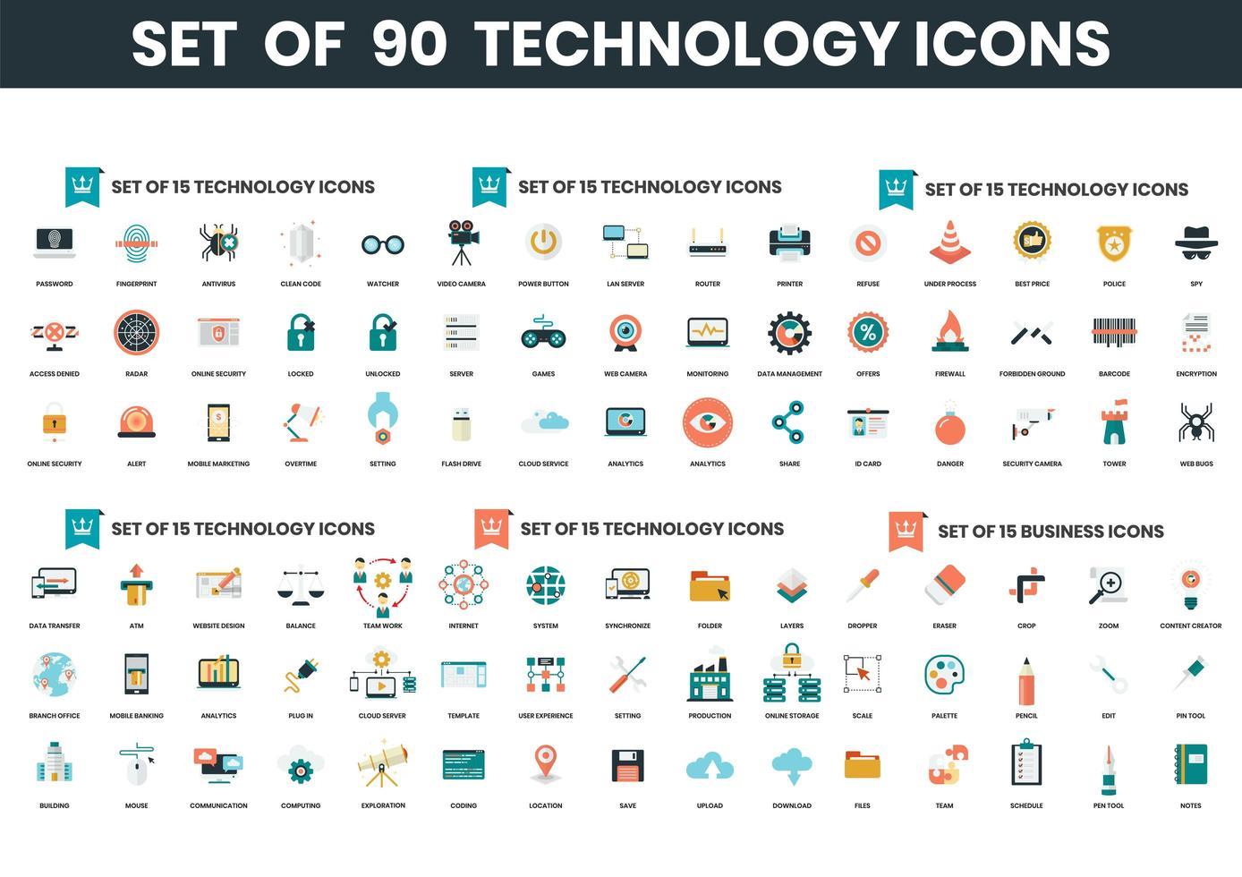 set di 90 icone di tecnologia vettore