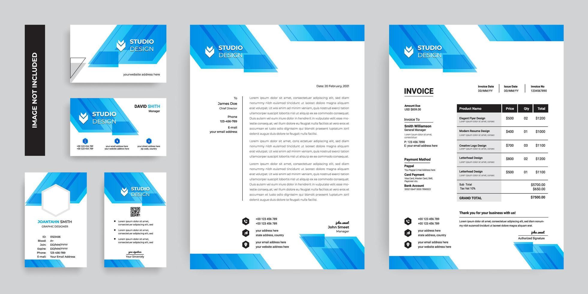 set di branding design a forma di angolo blu vettore