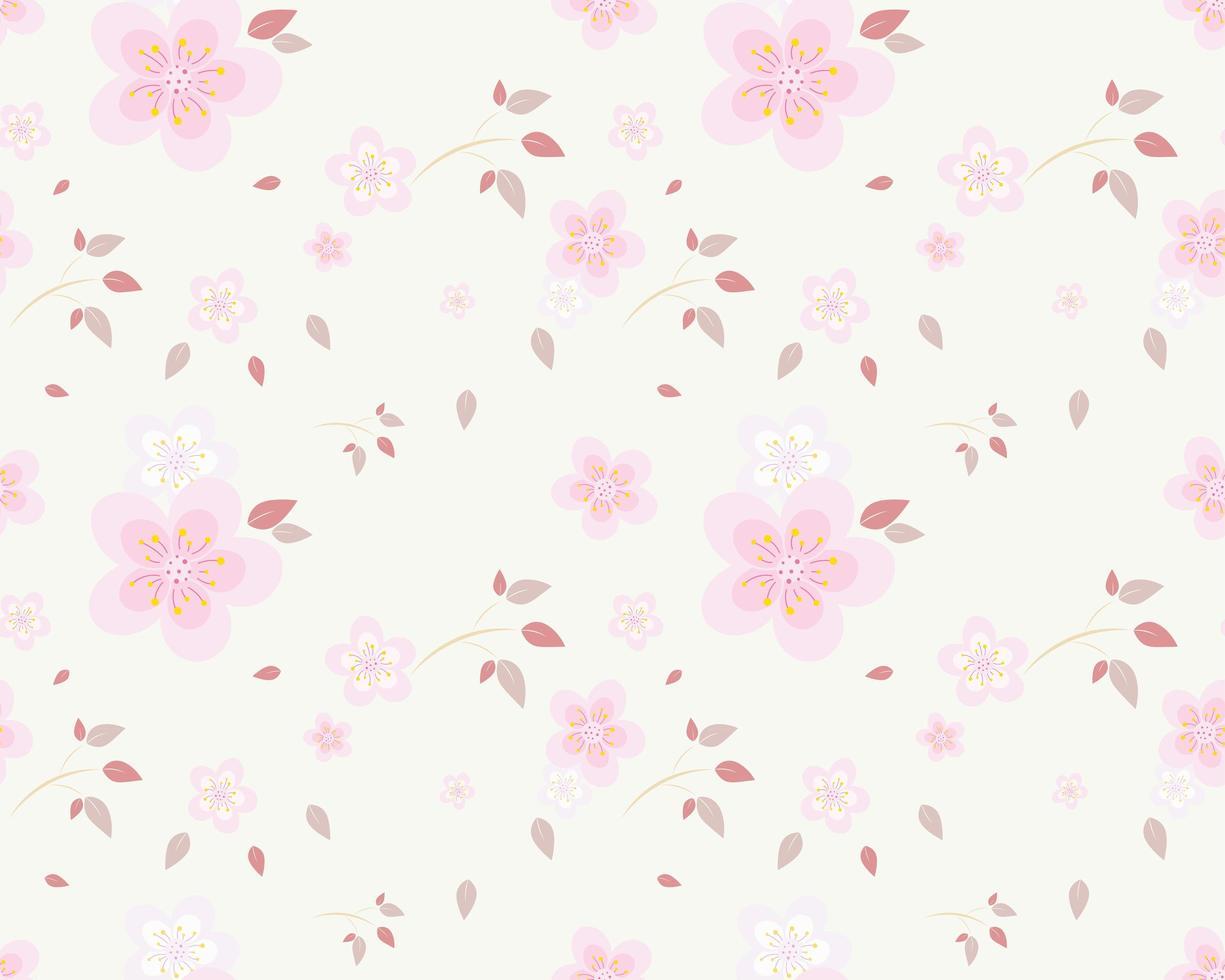 fiori rosa con motivo a foglie rosa vettore
