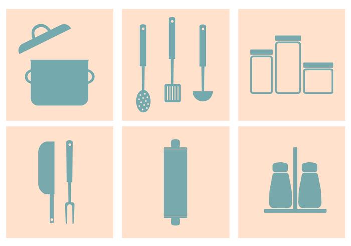 Vettore degli utensili della cucina