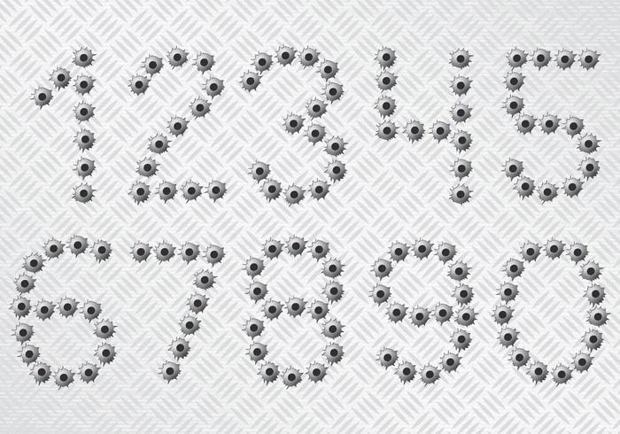 Numeri di fori di proiettile vettore