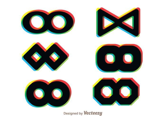 Icone multicolori del ciclo di Infintine vettore