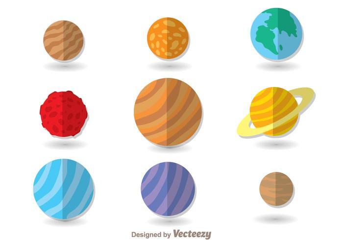 Icone piane di pianeti vettore