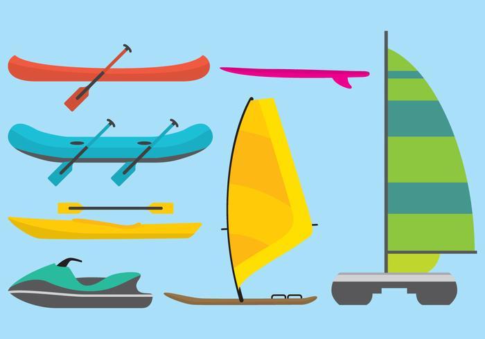 Vettori di catamarani, tavole e zattera