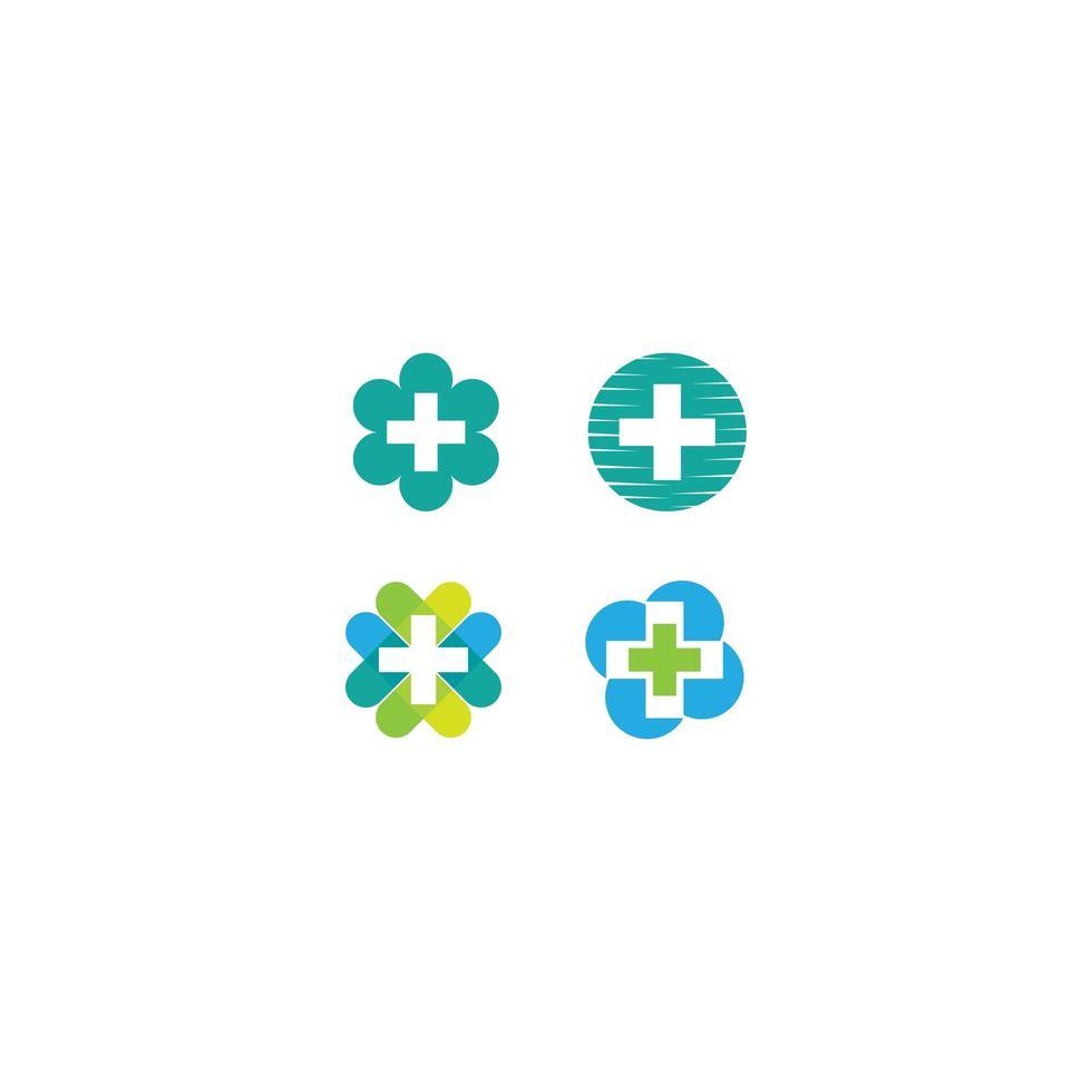 set di icone croce medica naturale vettore