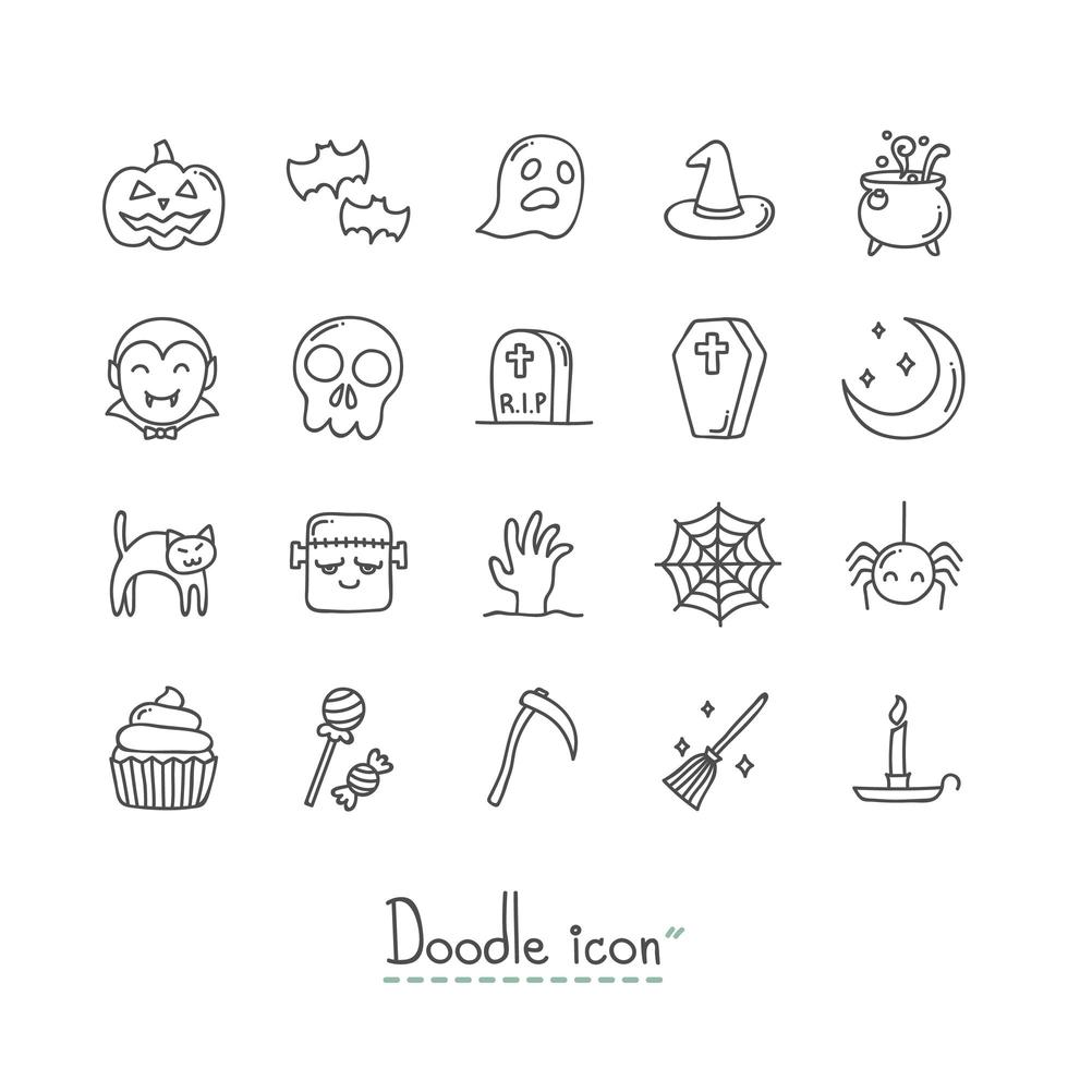 Doodle set di icone di halloween vettore