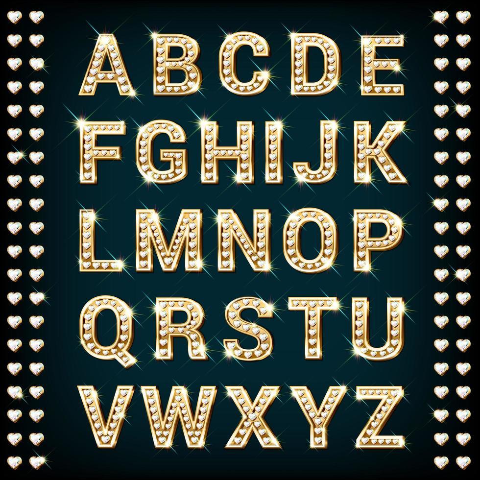 alfabeto di diamante cuore d'oro vettore